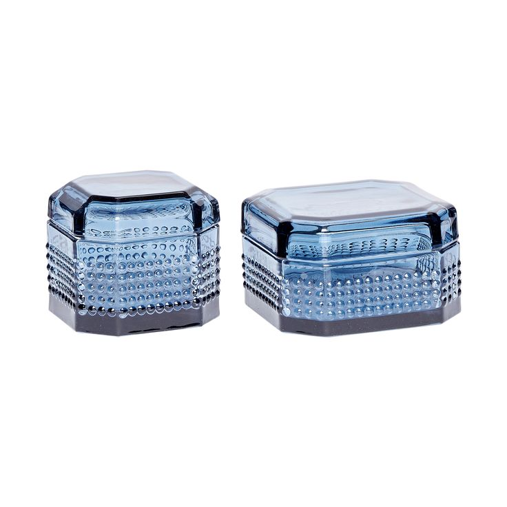 2 blue glass storage jars with lid. Product number: 660316 - Designed by Hübsch