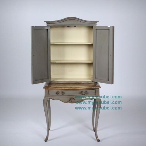 French Antique Solid Display Cabinet with 1 Drawer