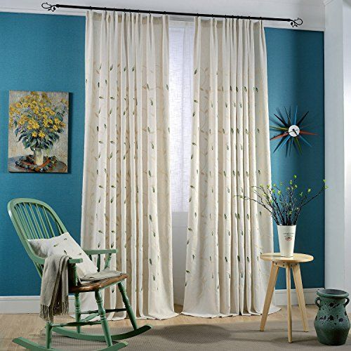 Anady Top Set of 2 PanelsPair Drapes Linen Polyester Fabric White and Green Leaves Vine Embroidery Blackout Lined Curtains Double Pleated72W by 100LInch Each Panel Extra Long * You can find out more details at the link of the image.