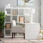 Personal Office Design – Finley Home – Hudson Collection – Hudson 16-Cube Shelf with Desk – White