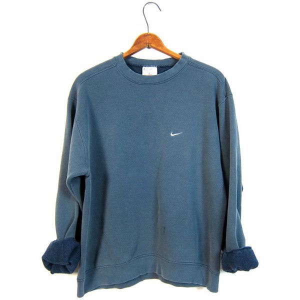 Faded Blue Nike Sweatshirt Washed Out Distressed Athletic Pullover... (£19) ❤ liked on Polyvore featuring tops, hoodies, sweatshirts, sweaters, sweaters/sweatshirts, evening tops, nike pullover, nike tops, blue pullover and cotton pullovers