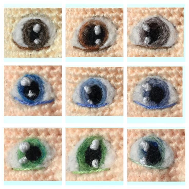 What's the color of your eyes, mine is the one at top left corner. They are needle felted to the babies Amigurumis. Methods & tips are included in my Amigurumi Design Book 1 by Sculpturingface Www.etsy.com/shop/Sculpturingface #amigurumi #crochet #pattern by #Sculpturingface