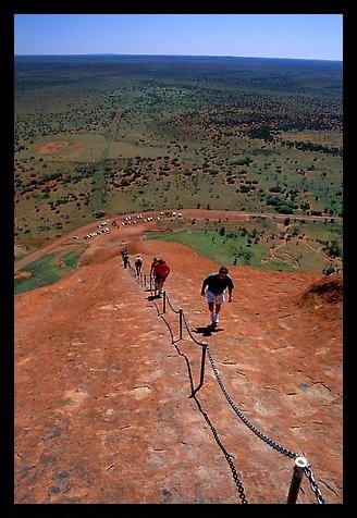 Ascending Ayers Rock. Uluru-Kata Tjuta National Park, Northern Territories, Australia.