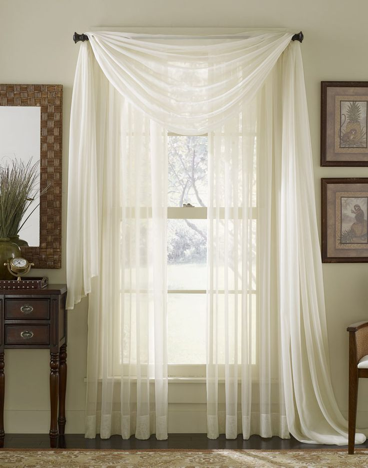 White Sheer Curtain Scarf For Wedding Backdrop