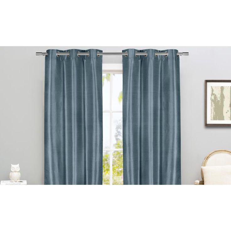 Duck River Daenerys 38 in. x 96 in. L Polyester Faux Silk Curtain Panel in Blue (2-Pack)