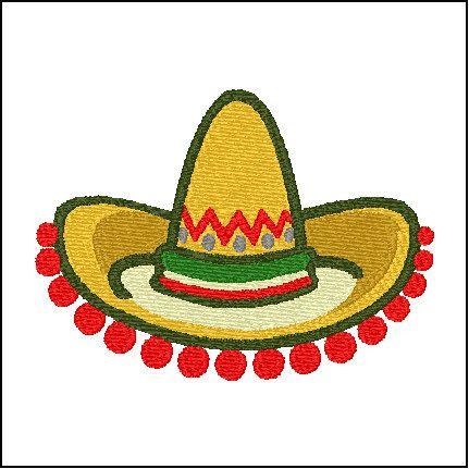 Sombrero Mexican Hat Embroidery Design