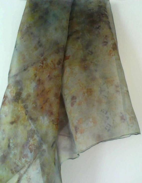 CHIFFON SCARF - Hand-dyed by leaves and plants, Colors and prints from nature transferred to silk ,without chemical fixatives ,  unique by EcoDyeing on Etsy