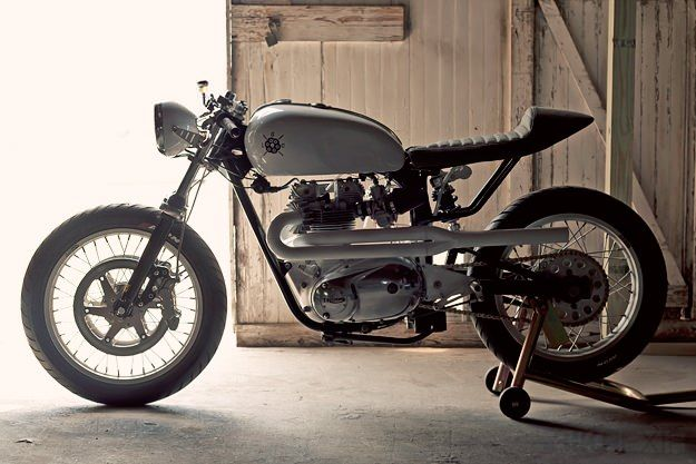 I'm in love. This 72 Mono Racer by Loaded Gun Customs is based on a Triumph Bonneville, but has been wholly reworked. It even has a Ducati swingarm, so my heart is truly taken.