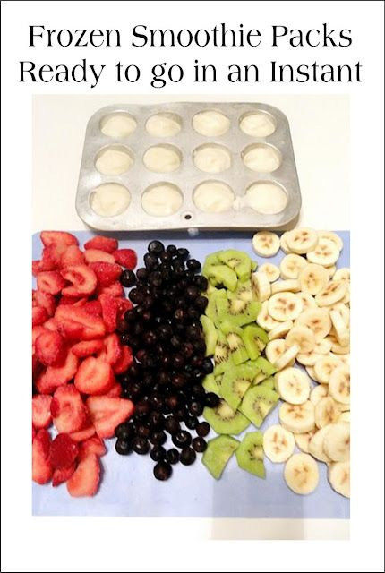 Frozen Smoothie Packs: Freeze Greek Yogurt in mini-muffin tin or ice cube trays (1 tbsp per cube) & pre-freeze fresh fruit. Then create ziploc packs w/ 1.5 cups frozen fruit & 3 yogurt cubes. Mix in ground flax or steel cut oats w/ yogurt before freezing or toss in some almonds or almond butter to each bag.