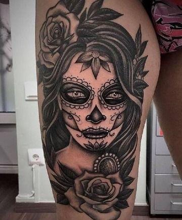 Grandes Y Significativos Tatuajes De Catrinas En La Pierna