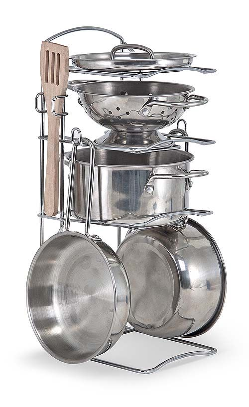 Let's Play House! Stainless Steel Pots & Pans Play Set   New   Melissa and Doug - absolutely getting this! maybe k will stop taking all my pots and strainers.....