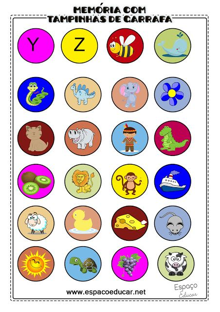 Jogo da Memória com tampinhas plásticas para alfabetização: trabalhando o som inicial das figuras! - ESPAÇO EDUCAR