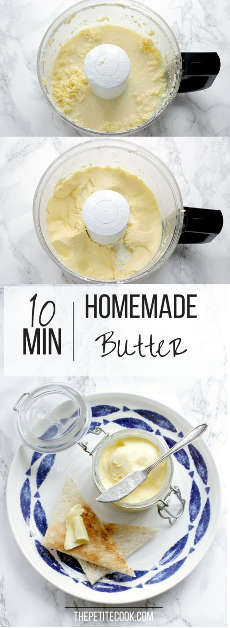 How To Make Homemade Butter - Ready in 10 minutes  with just 1 ingredient, making your own butter is easy, fun and tastes so much better! Easy step-by-step tutorial from thepetitecook.com