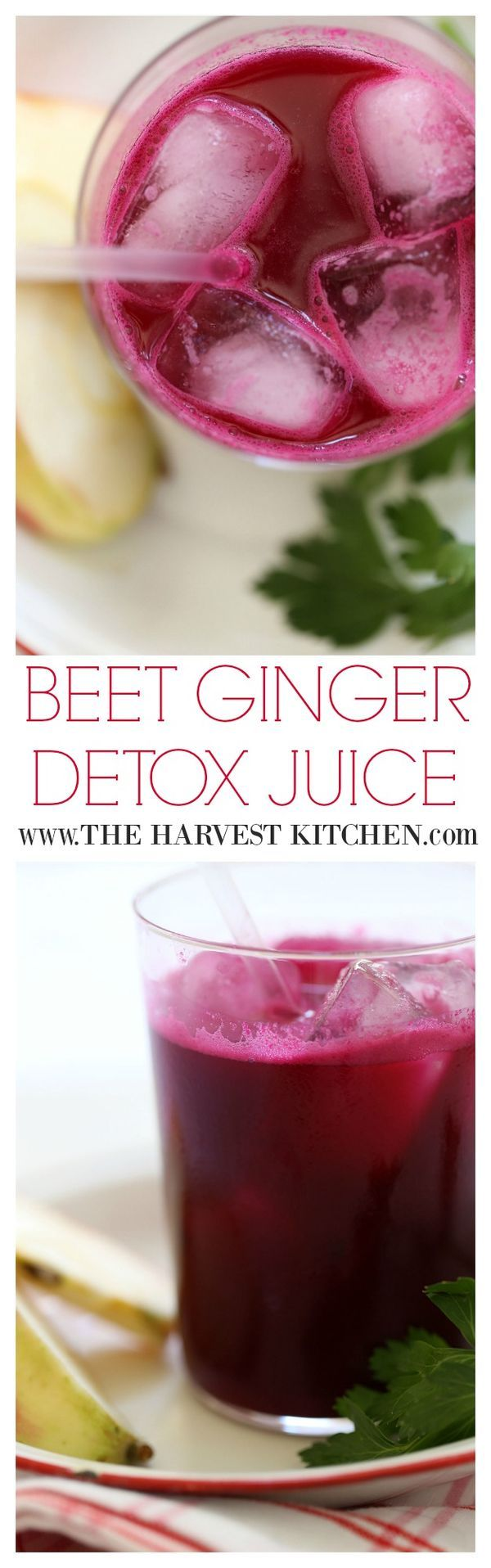 Beet juice is a powerful cleanser and highly nutritious. Apples, a whole lemon, fistful of parsley and ginger are juiced with a couple beets to create this deep red elixir.