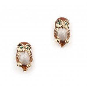 Owl Mini Stud Earring - Brown