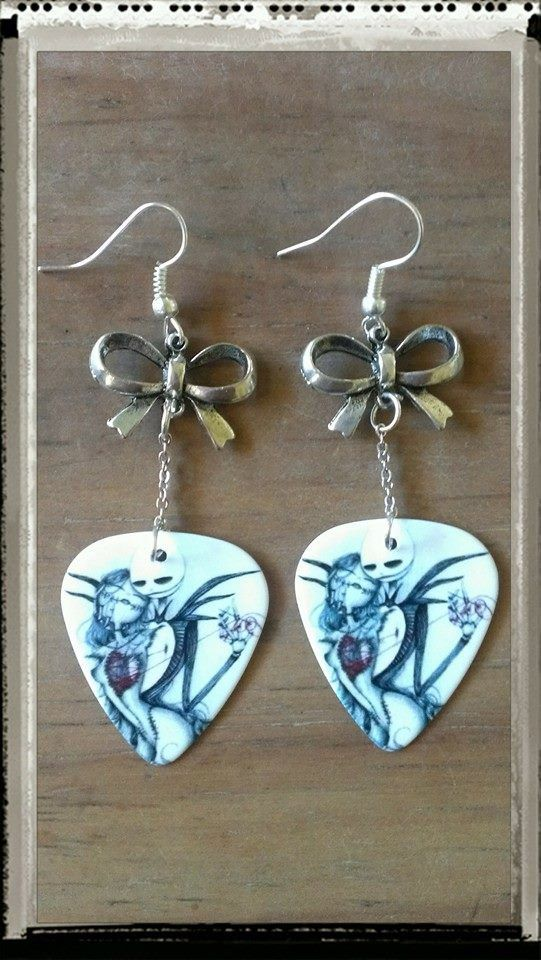 Mend Your Hearts Falling in Love with these Disney Inspired Jack and Sally Skellington Guitar Pick Earrings.