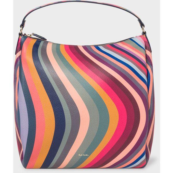 Paul Smith Women's 'Swirl' Leather Hobo Bag (48.045 RUB) ❤ liked on Polyvore featuring bags, handbags, shoulder bags, swirl, zipper purse, leather hobo handbags, zip shoulder bag, hobo purses and leather shoulder bag
