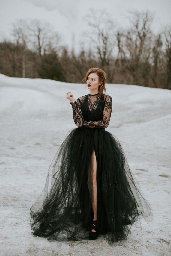 69 best black gowns images on pinterest black wedding dresses black wedding dress with tulle skirt junglespirit Images