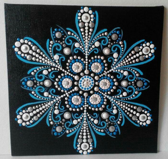 blue and white snowflake dot mandala