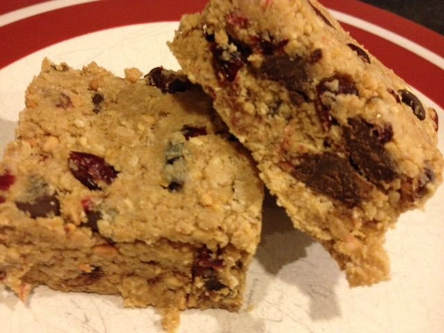 Healthy energy bars . . . They are delicious, packed with protein, and give me a boost without that sugar crash an hour later. Even if you're not a peanut butter lover, you'll like these.  This photo doesn't do them justice.