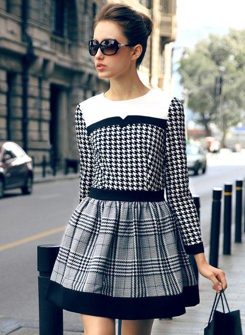 Vestido pata de gallo combinado cuadros manga larga-Blanco y negro sheinside
