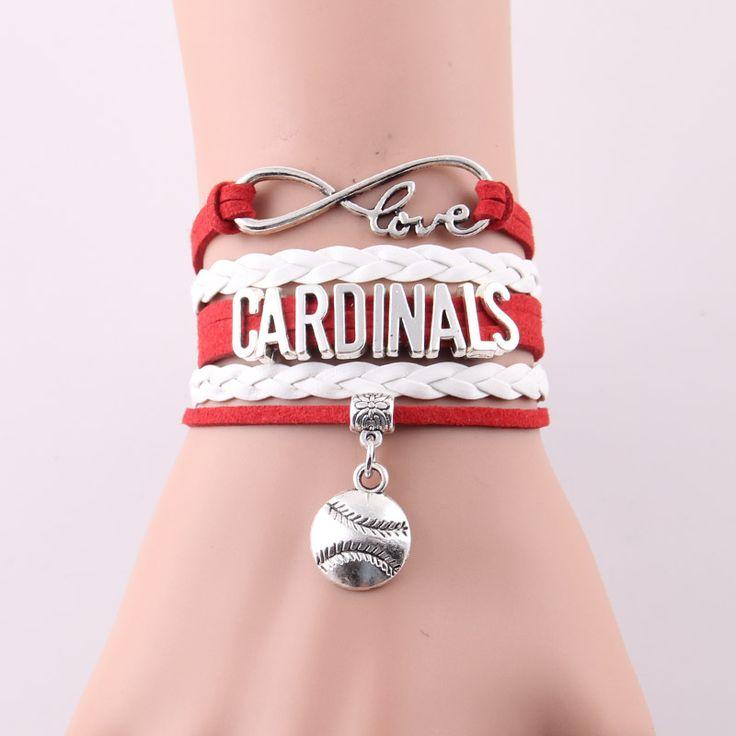 >> Click to Buy << Little Minglou Infinity Love Cardinals bracelet Baseball bat Charm leather wrap men bracelet & bangles for women men jewelry #Affiliate