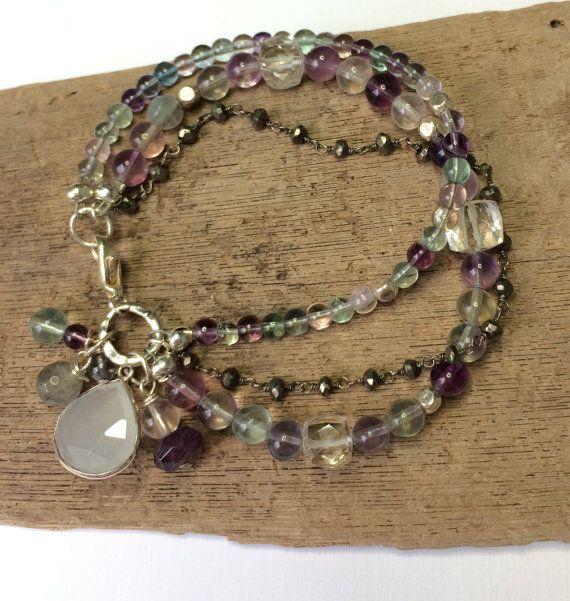 Multi Strand Beaded Bracelet - Semi Precious Beads Rainbow Fluorite Moonstone Aquamarine Gemstone Bracelet, Bohemian Boho Chic Gift For Her