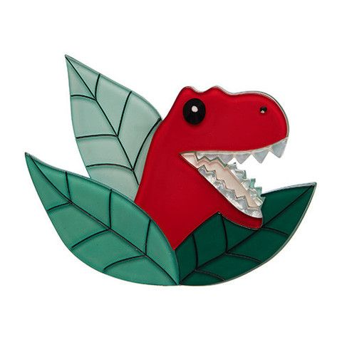 """Erstwilder Limited Edition Peak-a-saurus Rex Brooch. """"In the land before time this, terrible lizard was quite the hide and seek champion. Amazing really, considering his sheer size!"""""""
