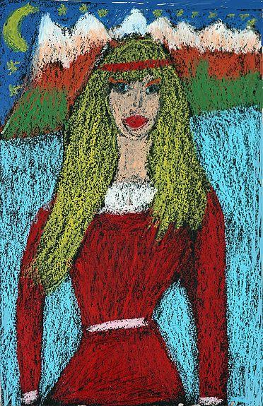 Jeune Femme à la Robe Rouge en Russie
