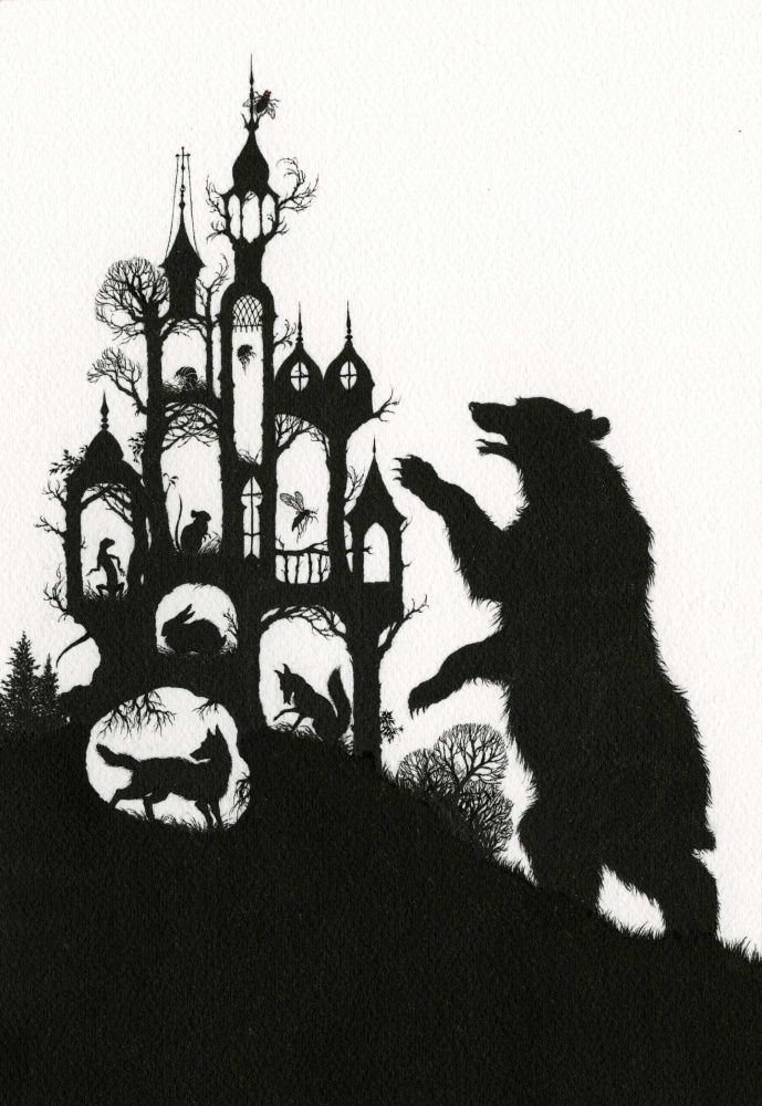 """I'm Rumbling Thunder! I'll tumble you under! I'm Bear Thicklegs!""  Illustration for The Castle of the Fly. Russian folktales"