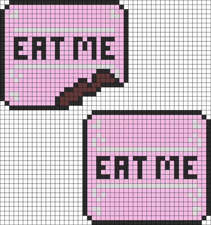Alice In Wonderland Eat Me Cakes Perler bead pattern