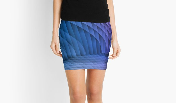 Geometric Path Blue-Pink Mini Skirts by Terrella.  An abstract image resembling a tiled or paved pathway with sweeping walls on each side.  The colors change from blue to pink with light and dark areas. • Also buy this artwork on apparel, phone cases, home decor, and more.