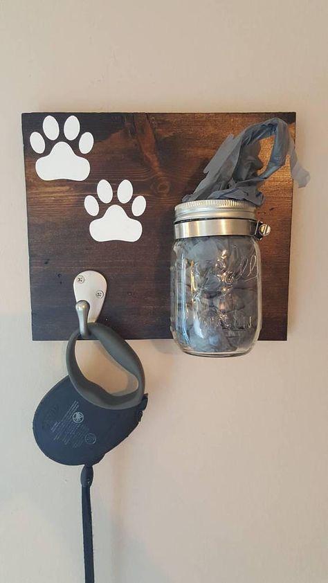 Dog Leash Holder, Dog Treat Holder, Dog Decor, Home Decor, Leash Hook, Bag Holder, Paw Prints, Ball Jar Storage Dog Leash Hanger