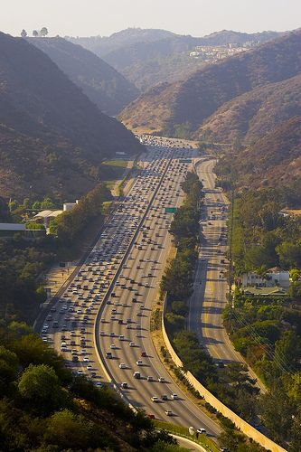 The Sepulveda Pass, Santa Monica Mountains.  Dropping down into the Los Angeles Basin from the San Fernando Valley. The Getty Museum is to the left high up in the mountains.