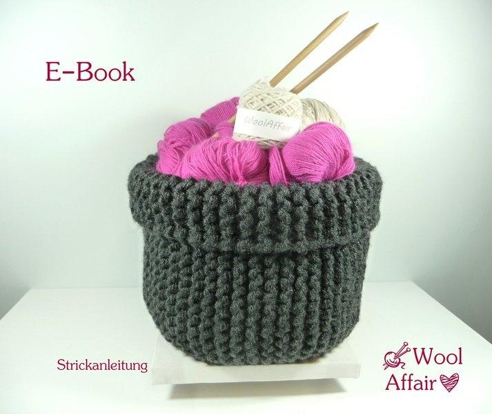chunky basket knitting pattern Grobstrick-Korb -Strickanleitung-   E-Book Knitted Basket