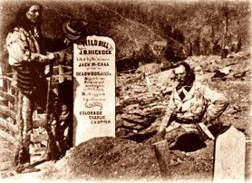 Charlie Utter and his brother Steve at the grave of Wild Bill Hickok, August,