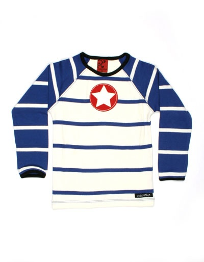 Ecru longsleeve shirt met blauwe strepen en rode ster - Villervalla