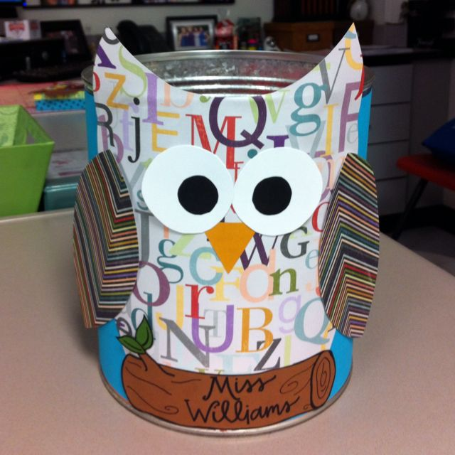 Owl Valentine cans for classroom