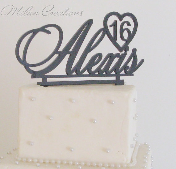 Birthday Name and Heart Cake Topper by MilanCreations on Etsy, $35.00