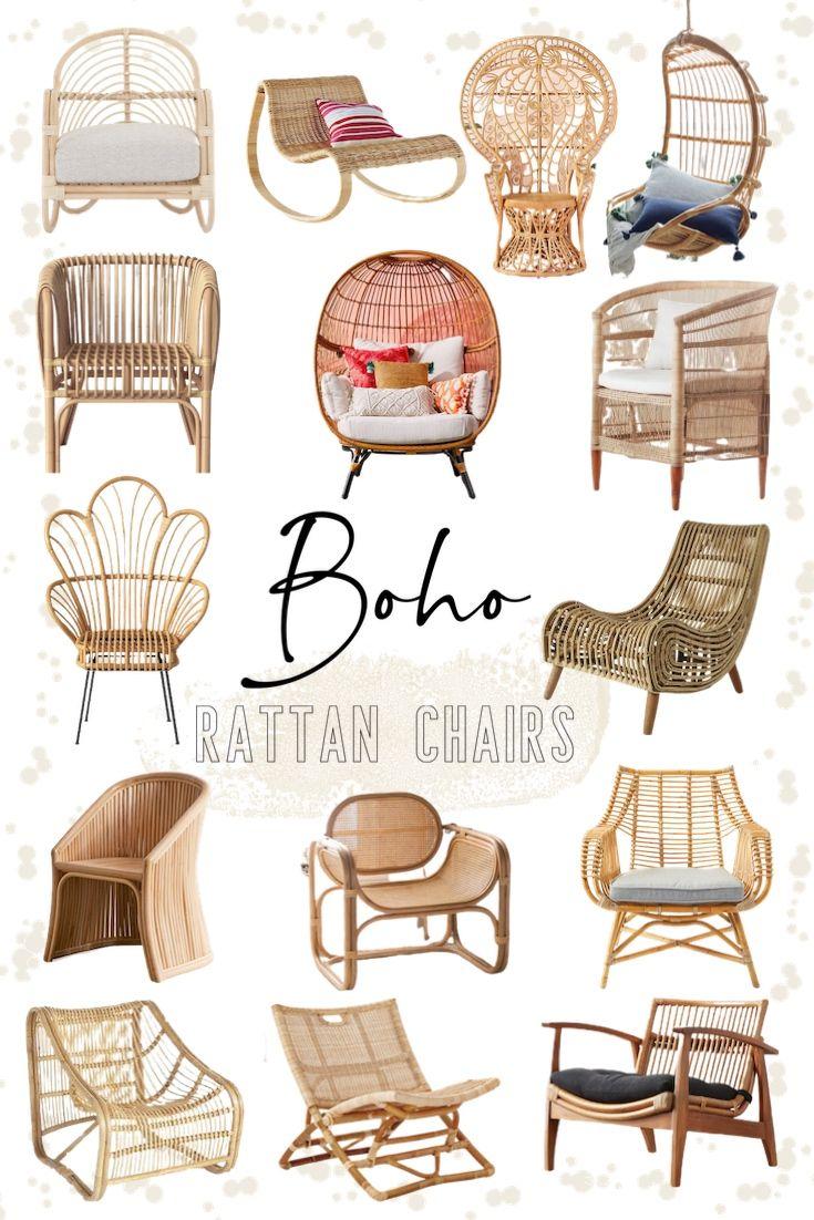 Boho Rattan Chairs In 2020 Boho Chair Rattan Chair Living Room Rattan Rocking Chair #rattan #chair #living #room
