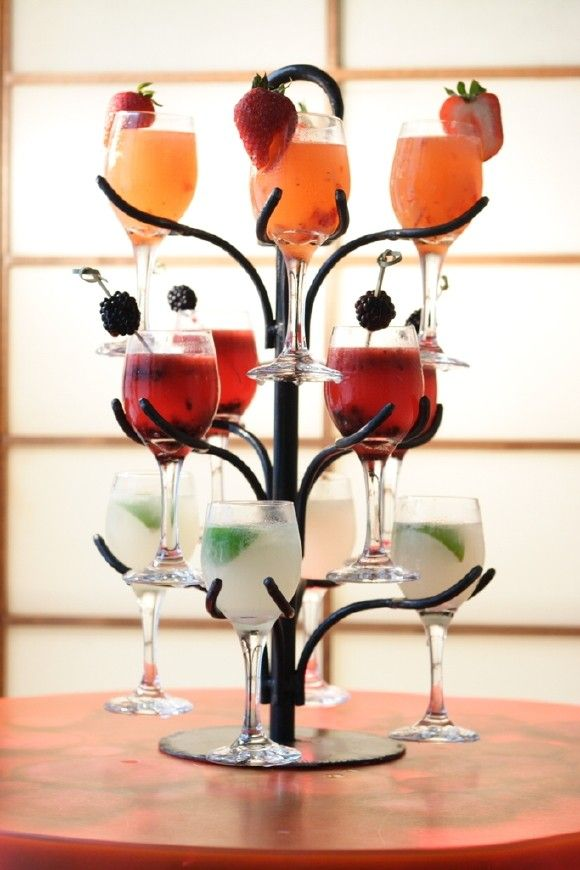 Cocktail Trees. Cute dinner party idea perfect for a Cocktail! Although don't know how long they would last in the stand!