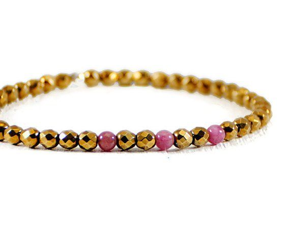 Gold Hematite Stretch Bracelet.