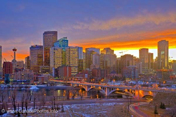 "City of Calgary sunset Alberta ""Chinook Arch"""