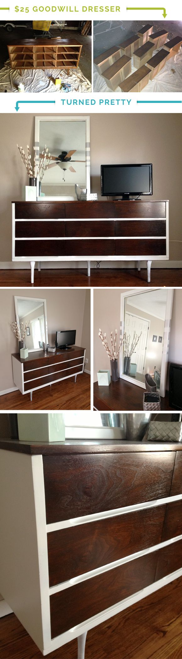 This has to be the nicest transformation I've seen by taking a $25 Goodwill dresser and making it pretty. Look at how gorgeous that wood turned out! But love how she painted some to give it modern lines. Fab.
