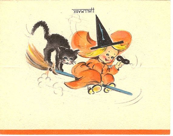 2 1940s hallmark halloween die cut placecards with black cat witch and broom - Hallmark Halloween Decorations