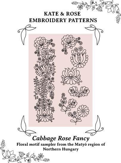 PDF embroidery pattern Matyó floral motif sampler by KateNRose, $6.50