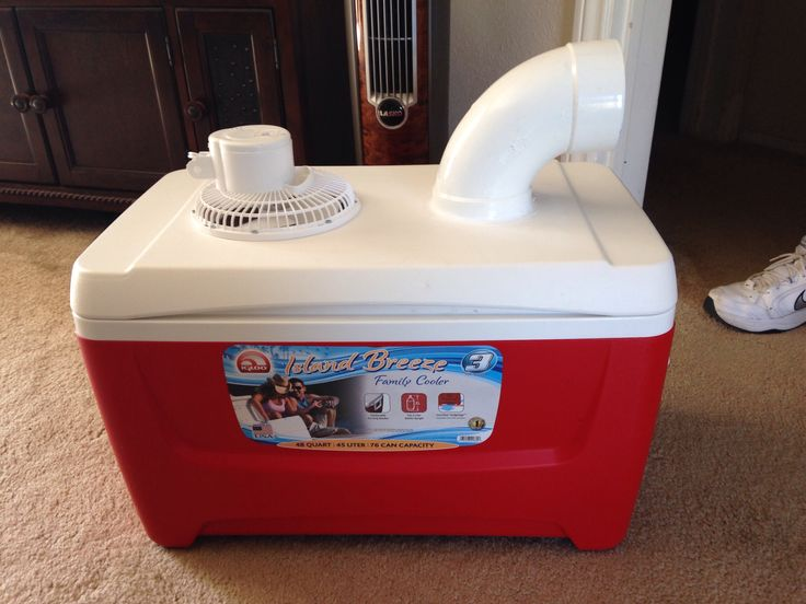 "My husband made this homemade swamp cooler in about 20 minutes for only $31.00 in parts to cool the kids' room down using only the power of a six inch fan and a block of ice. Awesome!  You Need: Ice chest 6"" fan PVC elbow Silicone Block of ice"