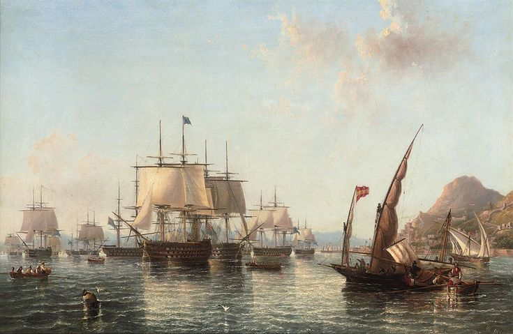 Admiral Lord Exmouth's fleet preparing to leave Gibraltar for the battle of Algiers, August 1816. By John Wilson Carmichael (1799-1868). SOLD USD $21,735
