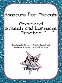 Free! Handouts for Parents: Preschool Speech and Language Practice