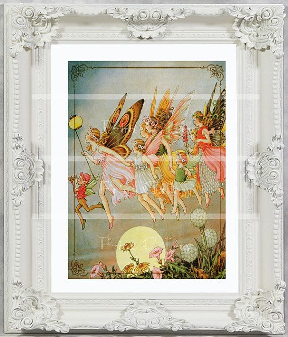 Shabby Chic Home Decor Fairy Print Girl Bedroom Antique Victorian Nursery Baby Wall Vintage Altered Art Pixie Princess Flying Friends ff 116